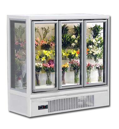 白色三门鲜花柜